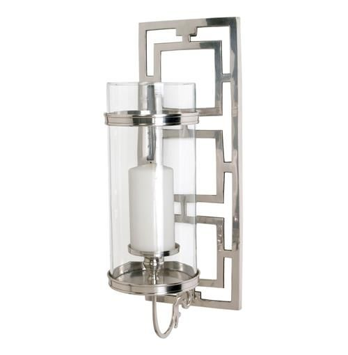Wilson Contemporary Polished Nickel Rectangle Hurricane Sconce