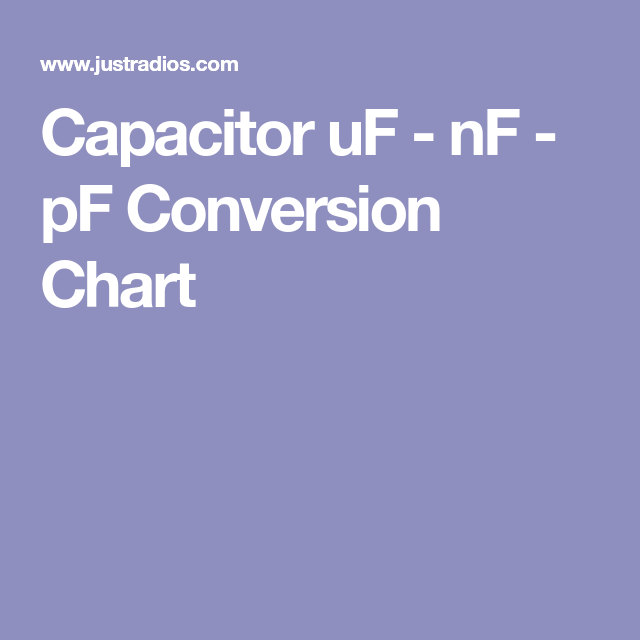 Capacitor Uf Nf Pf Conversion Chart Motores Pinterest