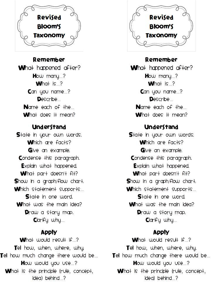 One Happy Teacher Revised Bloom S Taxonomy Education