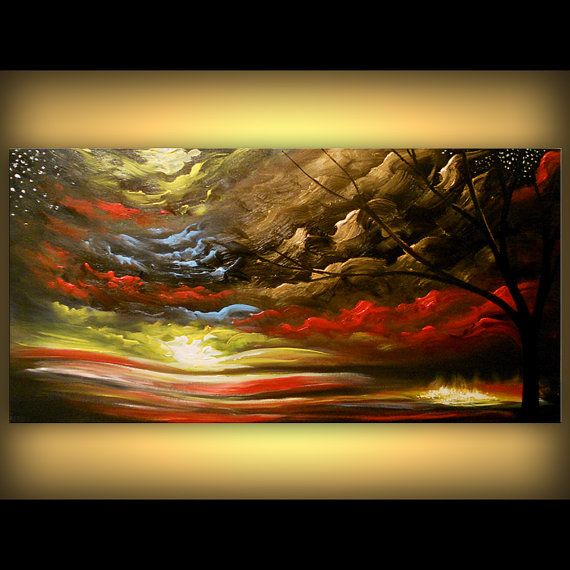 art tree painting abstract gold painting textured by mattsart, $350.00