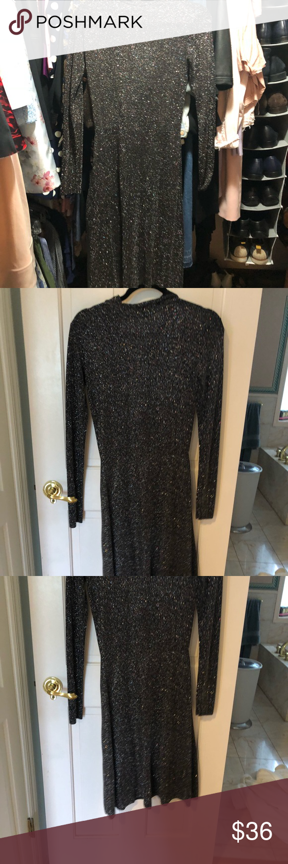 22def9d57a3f Thin material (not see through at all) shimmery sparkly. Hits mid calf Zara  Dresses Midi