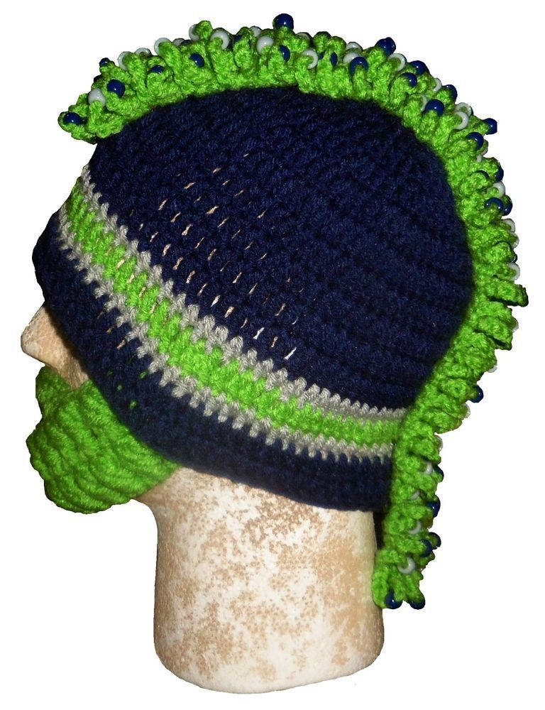 SEATTLE SEAHAWKS HAT WITH DETACHABLE BEARDS   MOHAWKS   BRAIDS   BLUE HAT     Handcrafted  SeattleSeahawks 1d8a7bb073f