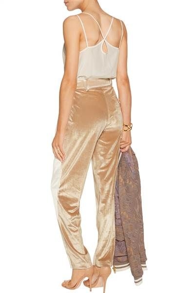 These beige velvet pants from the Outnet are affordable. They are perfect for fall.
