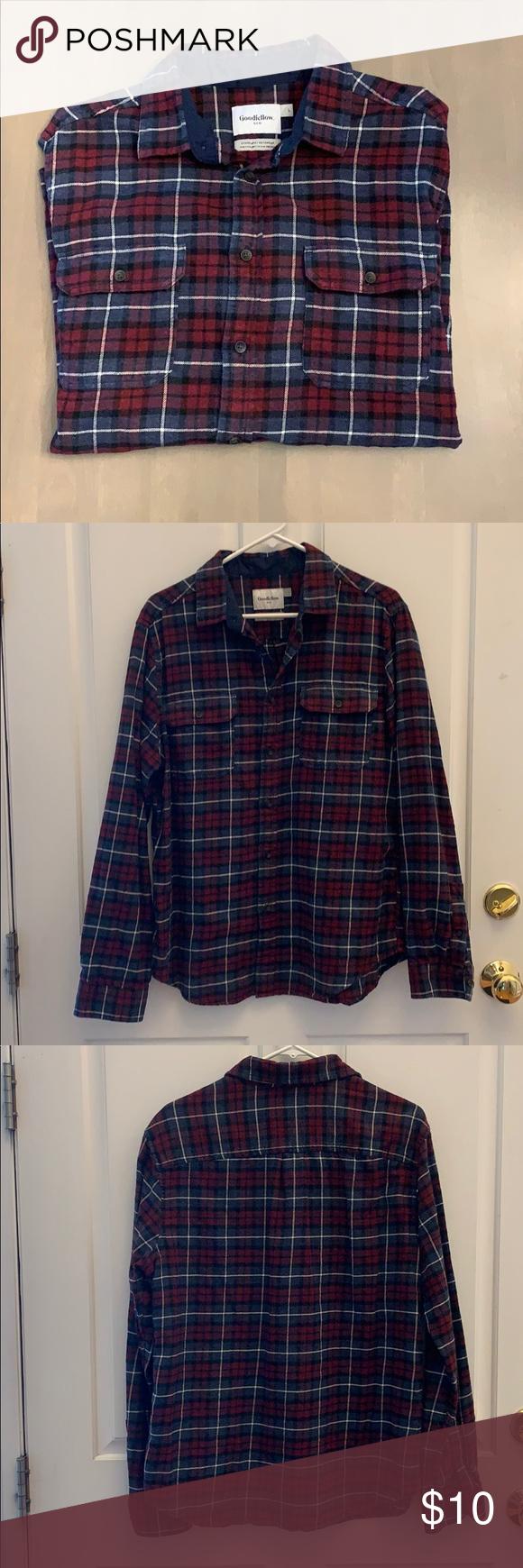 Goodfellow & Co Men's Flannel Shirt, Button Down L