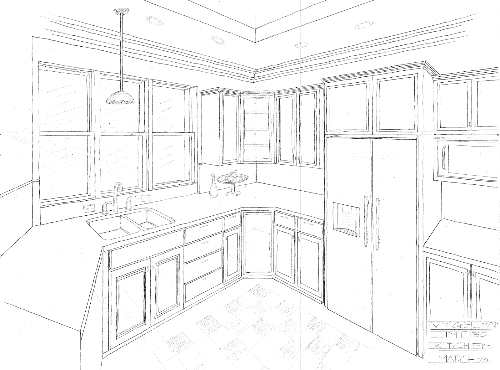 kitchen perspective drawing | One Point Perspective Kitchen | things ...