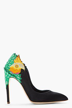 RUPERT SANDERSON Black and green Satin embroidered Birdie heels