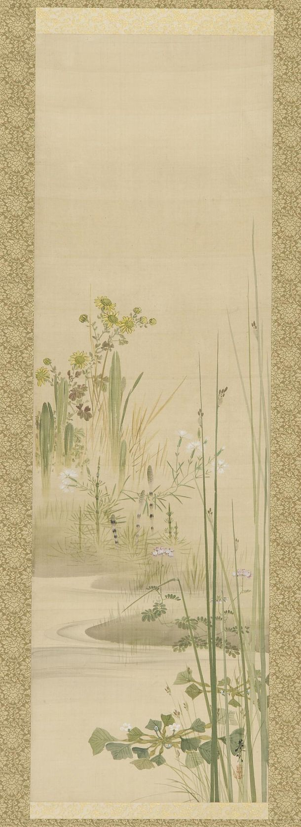 Color in japanese art -  Grasses And Flowering Plants Silk Painting By Shibata Zeshin Image And Text Courtesy Freer Sackler Japanese Art Copyright With Museum