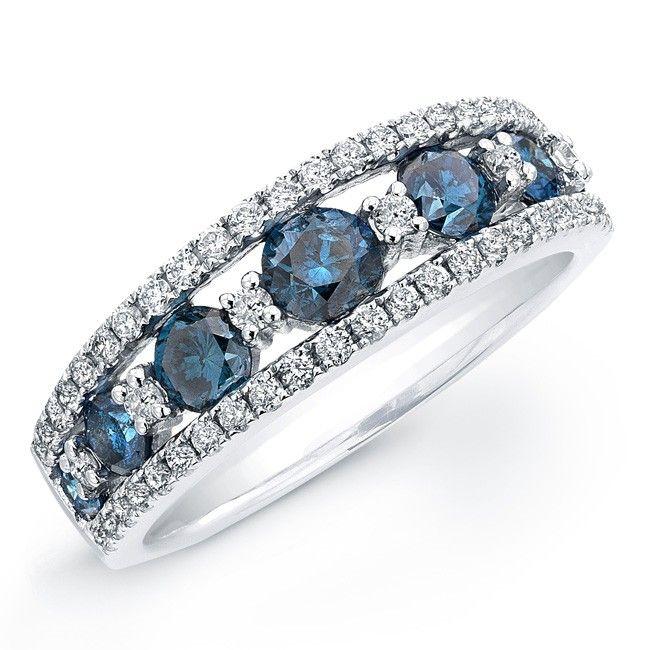 blue and white diamond wedding rings 14k white gold treated blue diamond wedding ring - Blue Wedding Ring