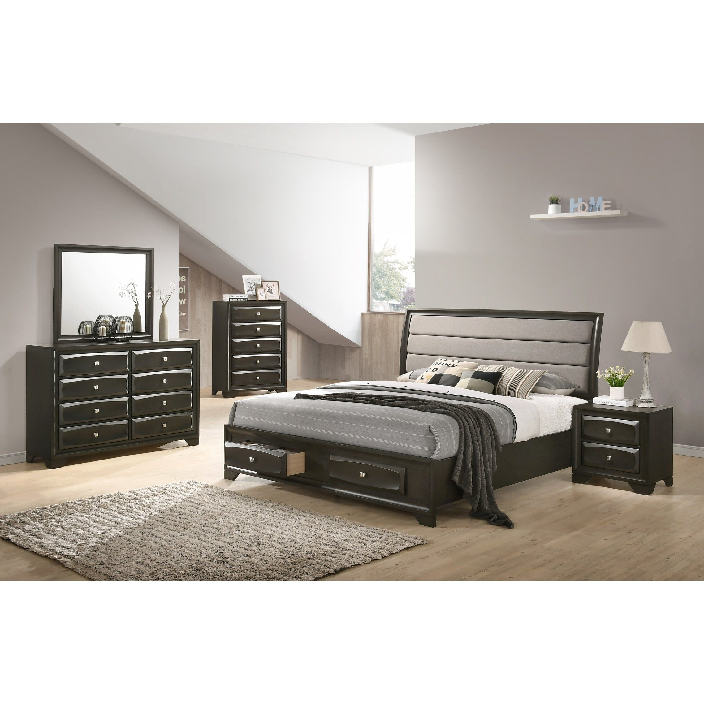 Asger Antique Gray Finish Wood 5 Pc Upholstered Queen Bedroom Set