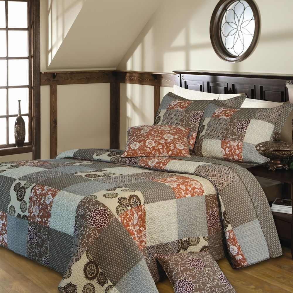 details about oversized 3 pc log cabin grey ivory brown bedspread