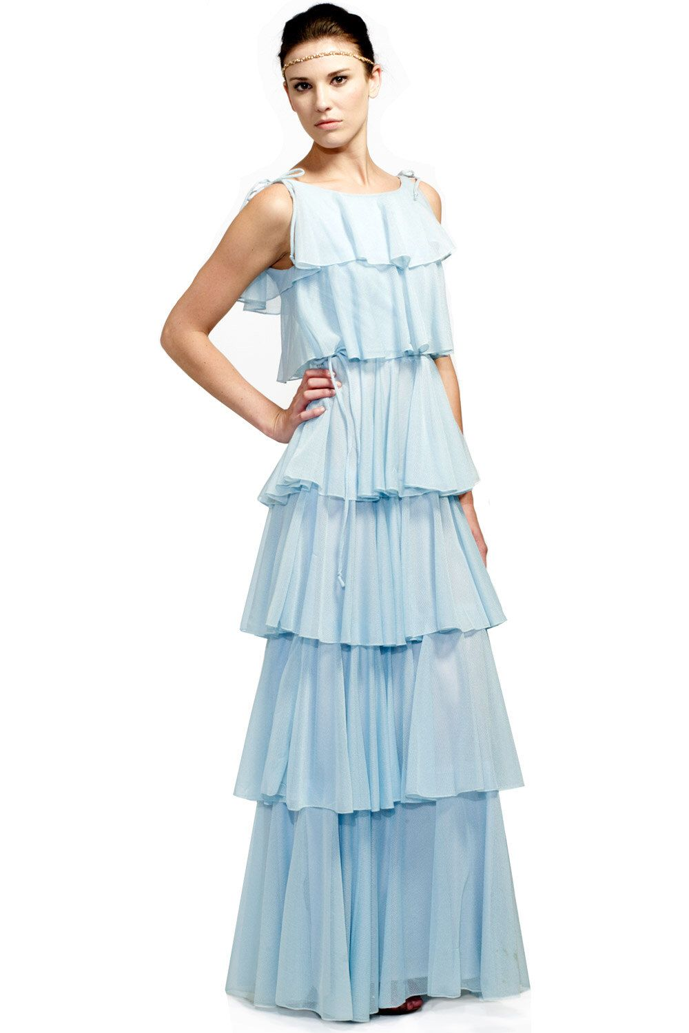 Light Blue Ruffle Tiered Chiffon Gown by PinkCloudsforGreyDay on ...