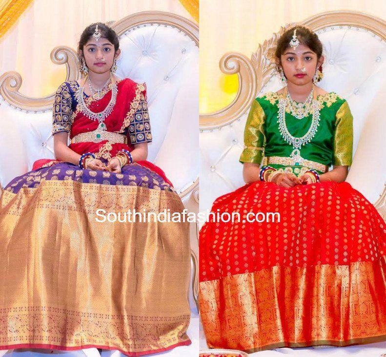 Heavy Border Kanjeevaram Bridal Half Sarees Lehengas South India Fashion Half Saree Half Saree Designs Half Saree Function