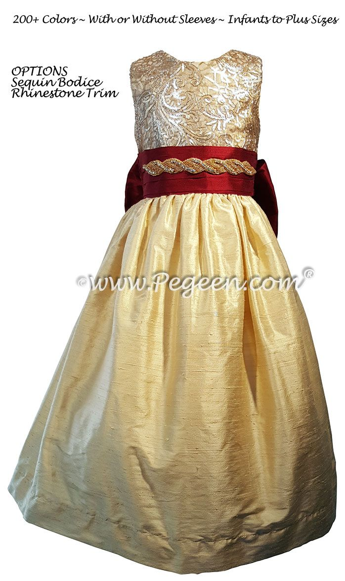 Red And Gold Sequined Silk Flower Girl Dress Gold Flower Girl