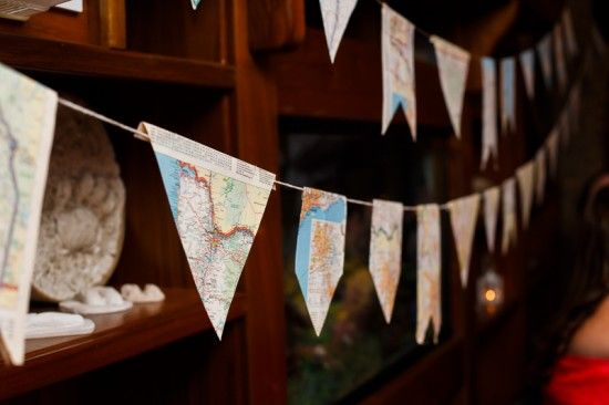 Reception banner decor made out of maps. Rustic Spring Wedding Reception in Maryland.  Amber Wilkie Photography