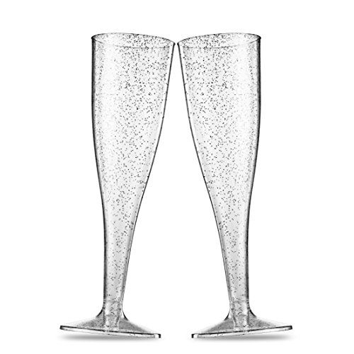6a1e600b47b 50 Silver Glitter Plastic Champagne Flutes 5 Oz Clear Plastic Toasting Glasses  Disposable Wedding Party Cocktail Cups