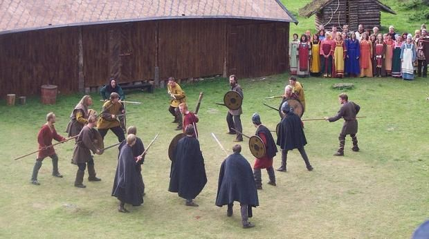 When Viking men played their games, the women watched - except in drinking games. This is a scene from at saga play in Steigen, Norway. (Photo: Mari Pedersen)  Life in the Viking Age was tough and hard, and physical work filled much of their days, but their lives were not without leisure.