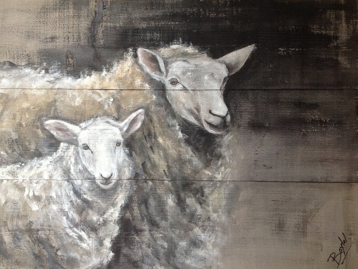 Goede Dieren op hout schapen schilderij dieren op steigerhout Sheep on FU-57