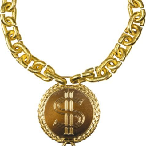 bling gold chain with dollar medallion halloween city