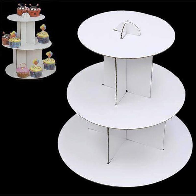 3 tier mini white cardboard cupcake dessert stand