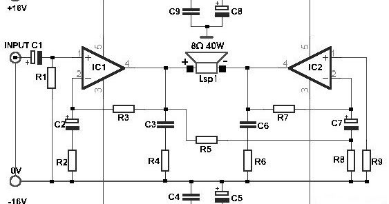 Schematic Build a 35W Bridge Power Amplifier with TDA2030