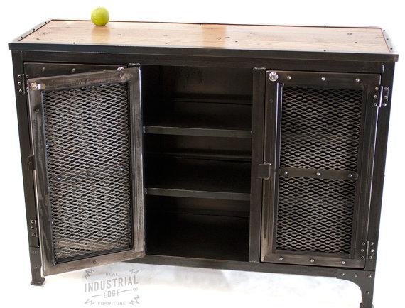 Charmant Reclaimed Wood U0026 Steel,Custom Industrial Locking Cabinet, Media Cabinet, Liquor  Cabinet, Wine Cellar