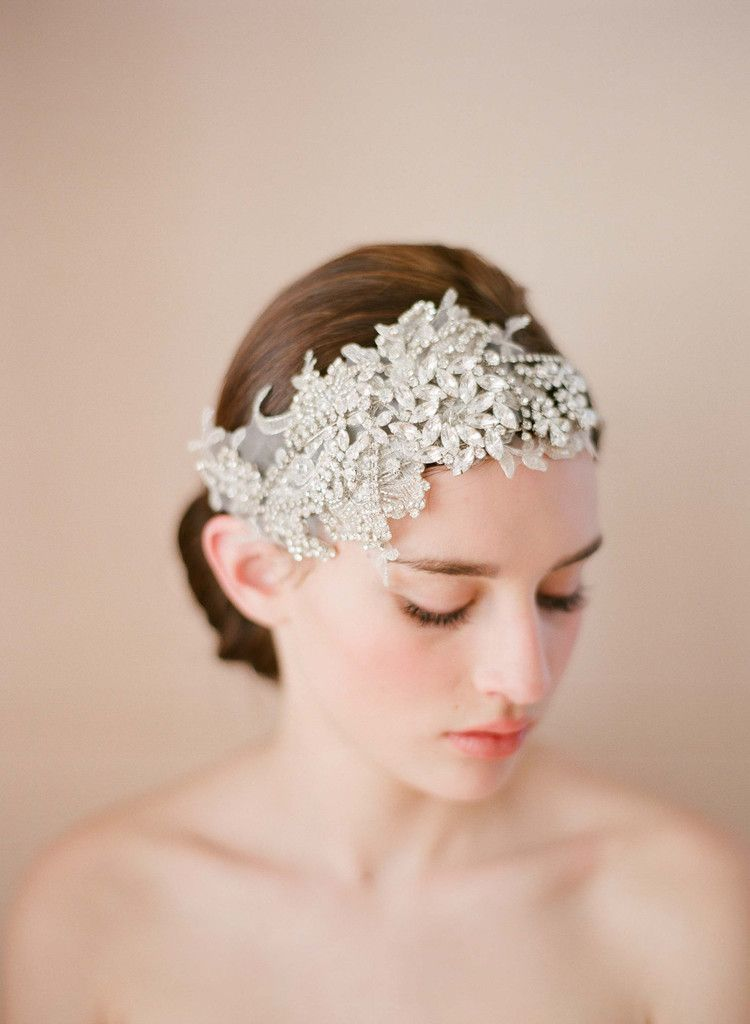 Rhinestone And Lace Double Headband