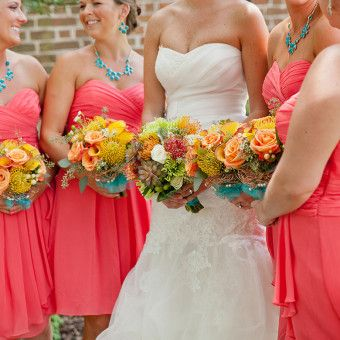 virginia beach, va, wedding, norfolk, coral, yellow, green ...