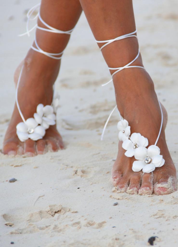 Spring Flowers Beach Wedding Barefoot Sandals Bangle Ankletnude Shoes On Etsy EUR