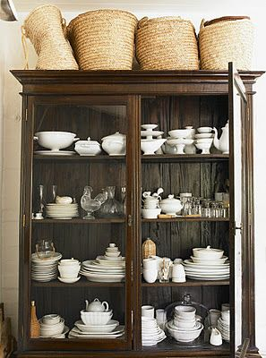 Love The Baskets White Dishes Armoire