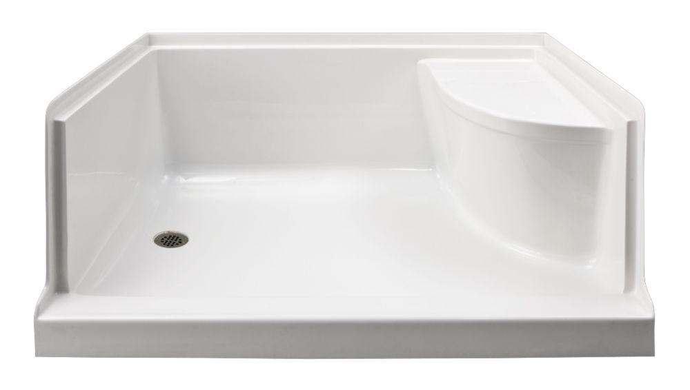 Ellis 60 Inch W Acrylic Rectangle Shower Base With Seat Left Hand In White Shower Base With Seat Acrylic Shower Base Shower Base
