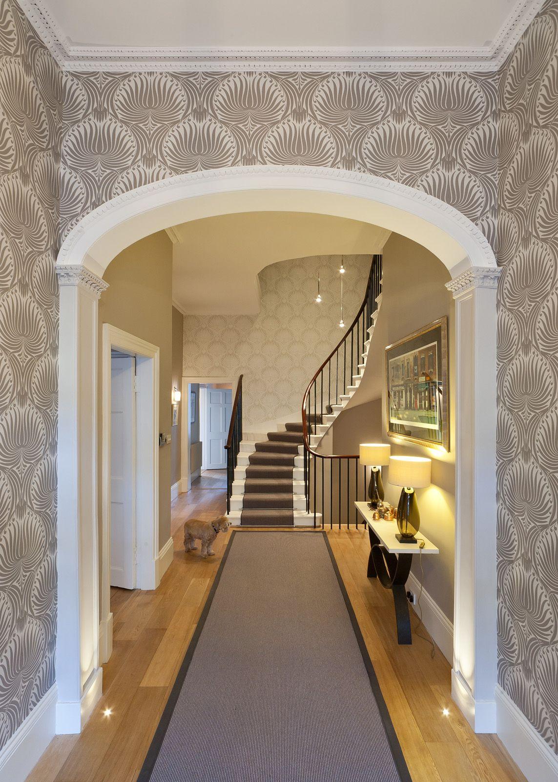 Hallway and stairs wallpaper  Helen Lucas Architects Edinburgh wall paper runner stairwell