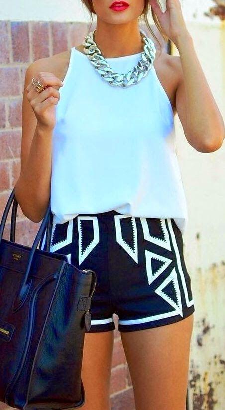 Tank top, Geometric shorts with handbag