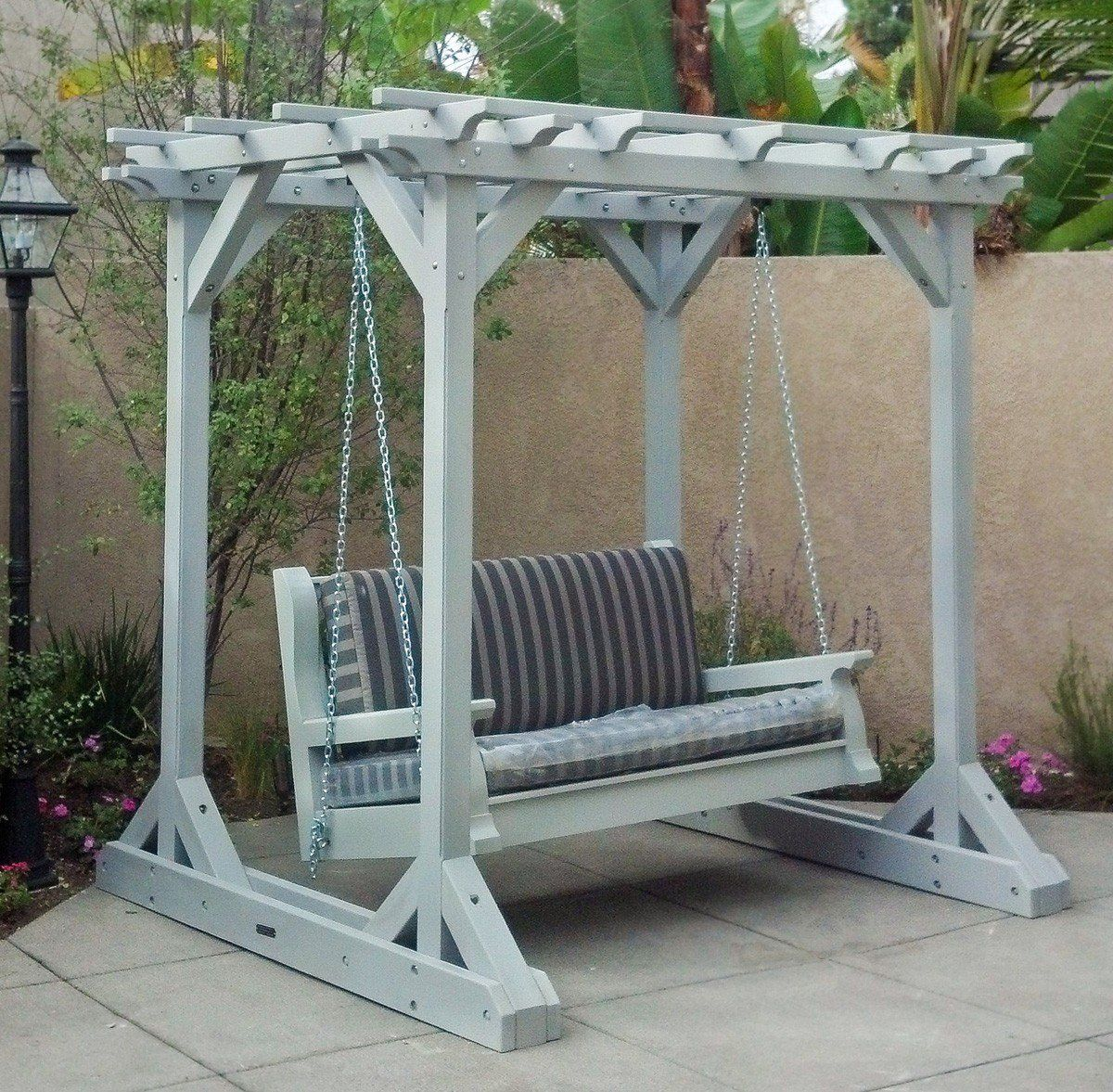 Redwood Pergola and Swing Combo (Options: 8' x 6', Standard Classic Bench Swing, No Engraving, Douglas-fir, Gray Oil-Based Primer). Custom Swing Added by Customer Request. Photo Courtesy of Barbara Mellinger of Costa Mesa, CA.