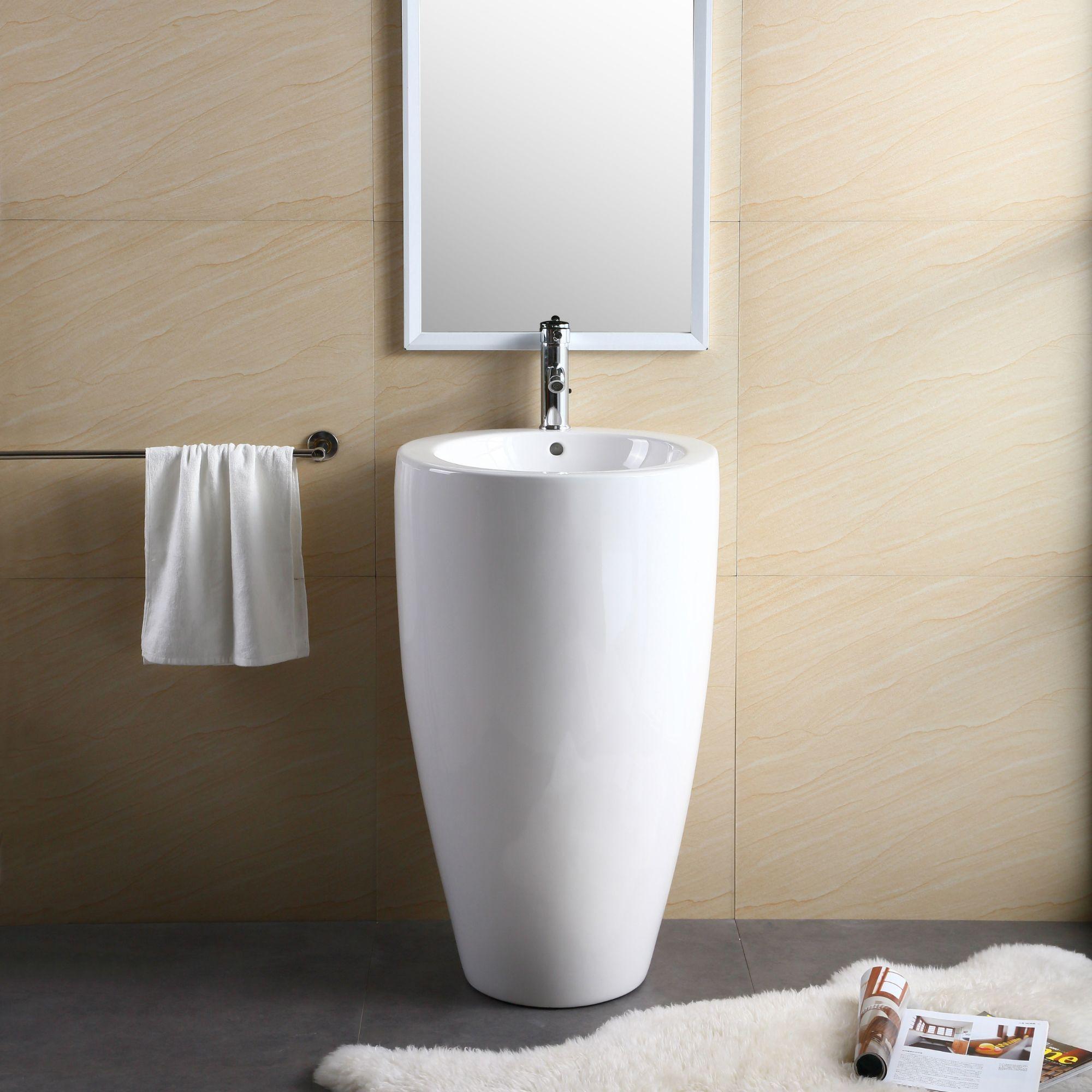 Fine Fixtures White Vitreous China Round Island Pedestal Sink (White ...