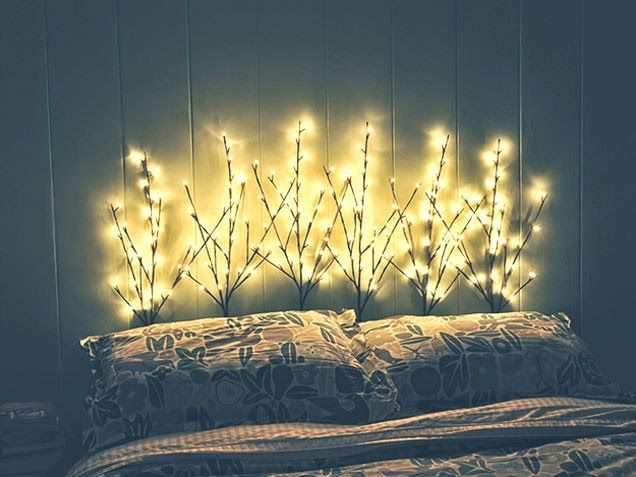 DIY headboard using lighted branches