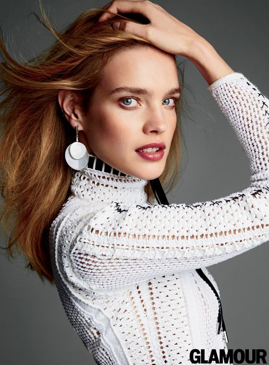 Natalia Vodianova in Glamour, April 2015 Louis Vuitton dress, earrings