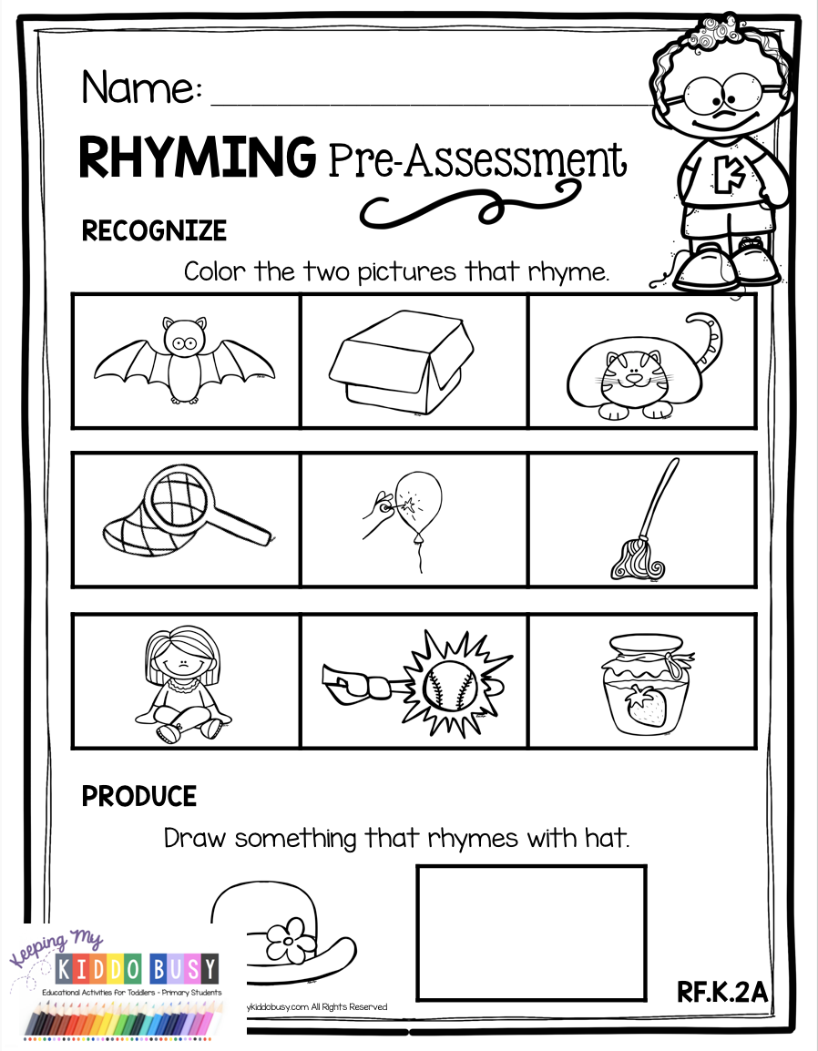 All About Rhyming Assessment Worksheets Literacy Centers No Prep Activities And Pock Rhyming Activities Rhyming Kindergarten Rhyming Words Kindergarten [ 1154 x 898 Pixel ]