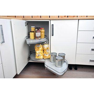 aménagement angle bas 2 paniers pour meuble l 100 cm delinia ... - Meuble D Angle Bas Cuisine