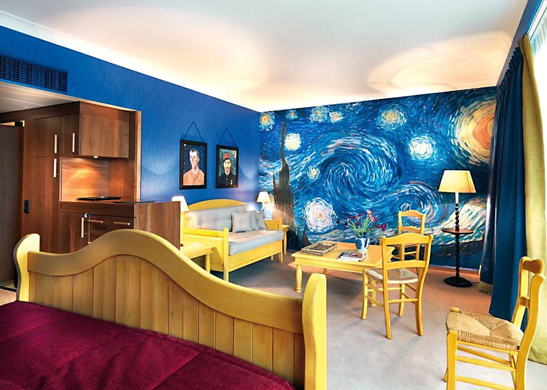 A Starry Night Bedroom Mural Starry Night Bedroom Van Gogh