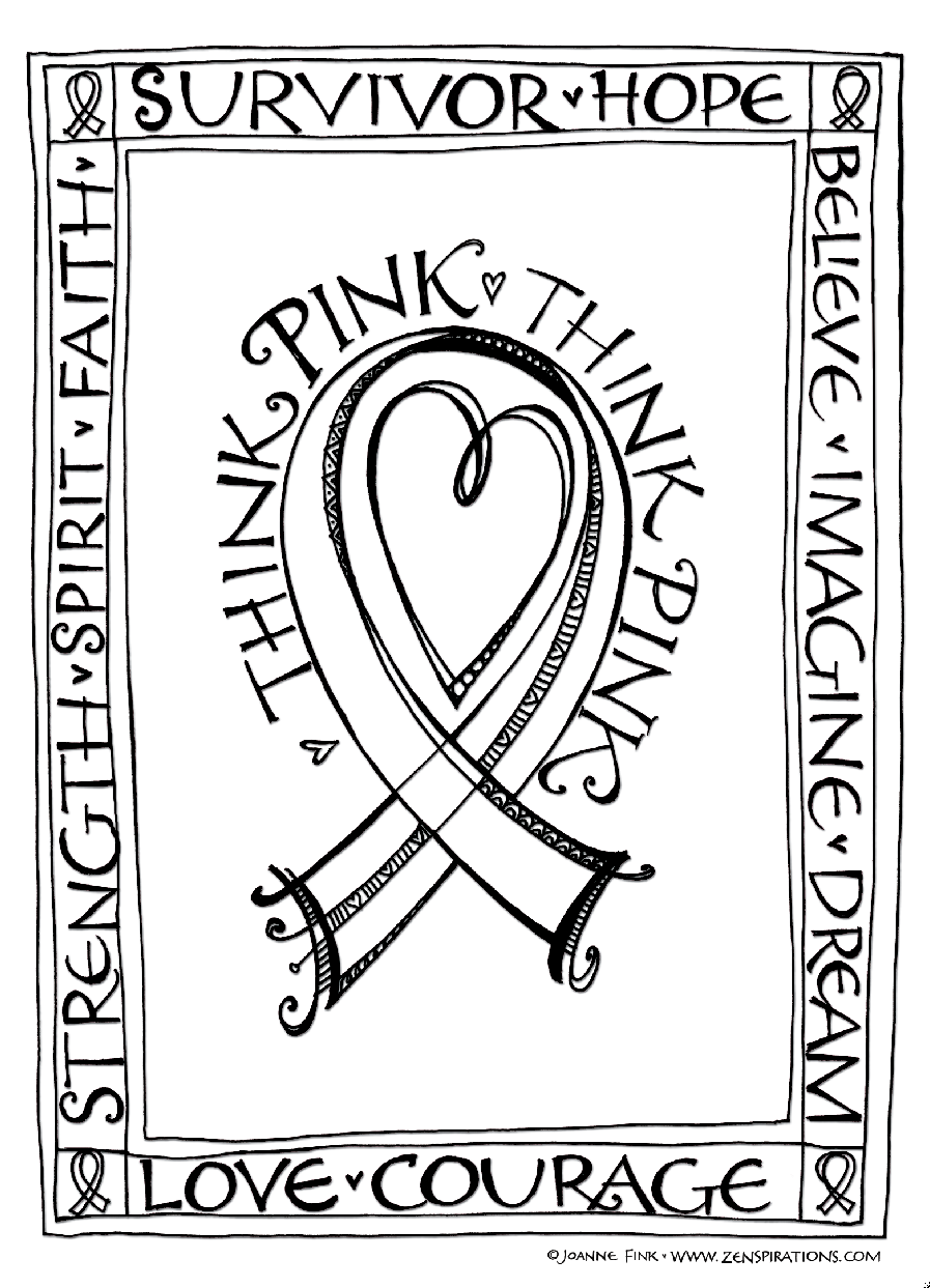 Cancer Ribbon Coloring Pages Ribbons Page