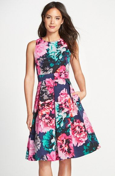 254da7fd8062 Eliza J Floral Print Faille Fit   Flare Dress (Regular   Petite) available  at  Nordstrom