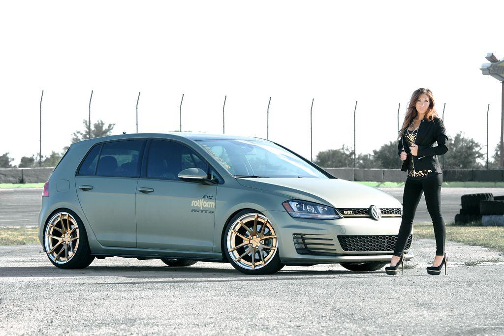 Vw Girl Vw Gti Mk7 Custom Wrapped In 3m Rotiform Wheels Nitto Invo