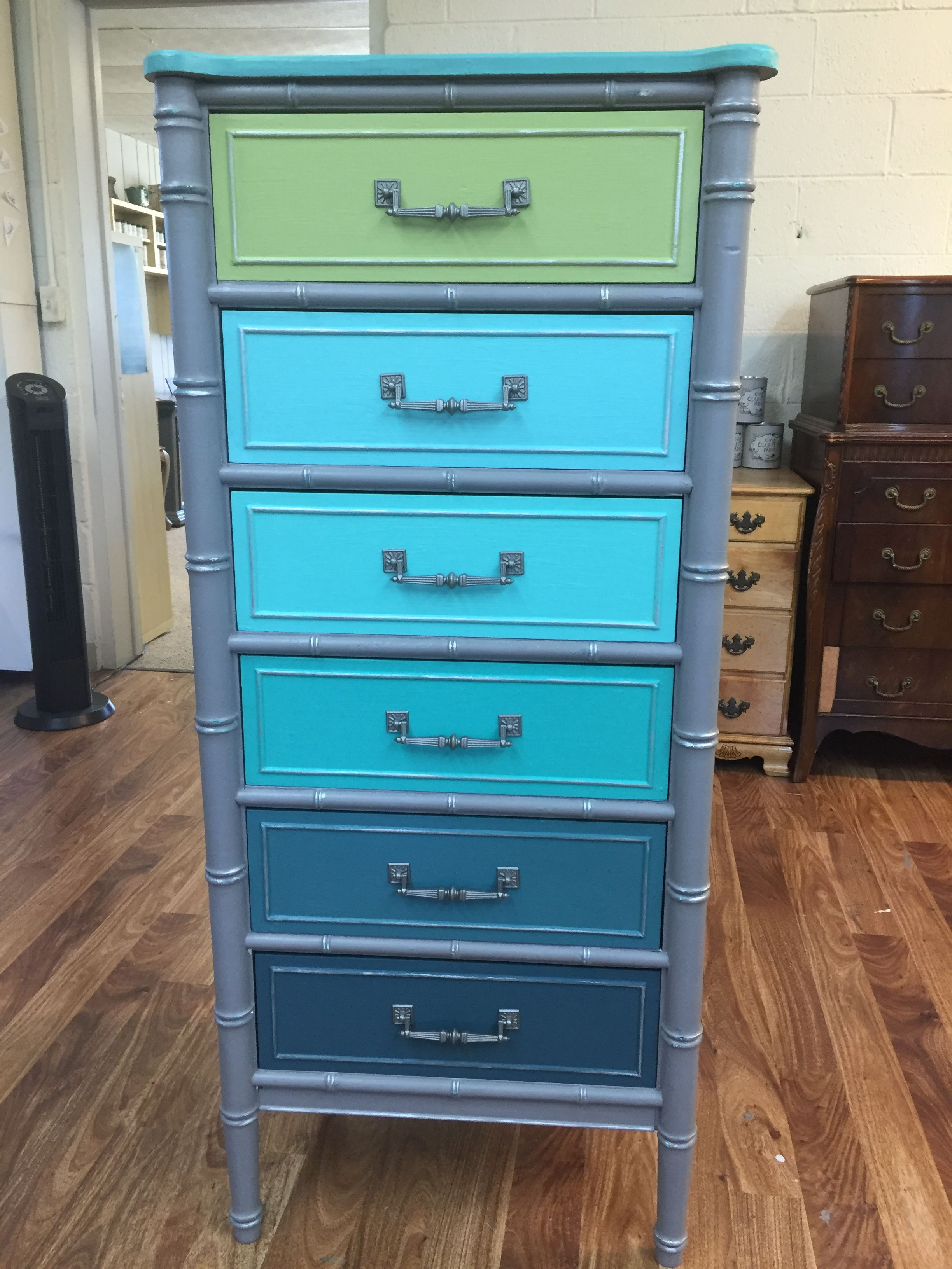 Lingerie chest done in grey milk paint with shades of teal and ...