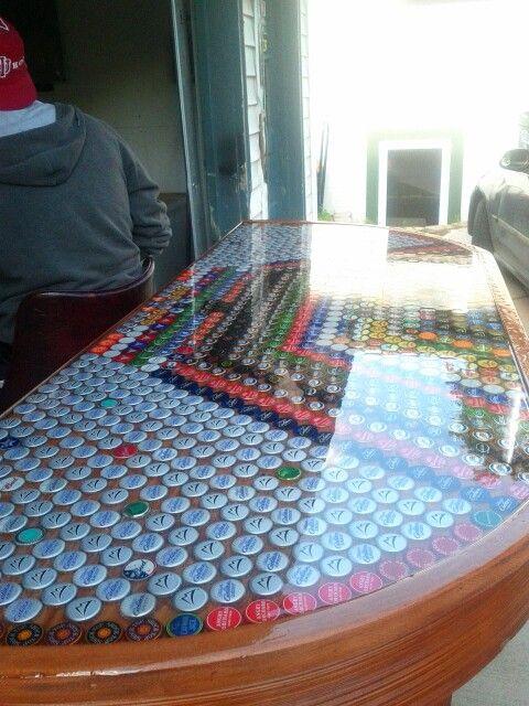 Bottle cap bar top | Bottle cap, Beer bottle cap art ...
