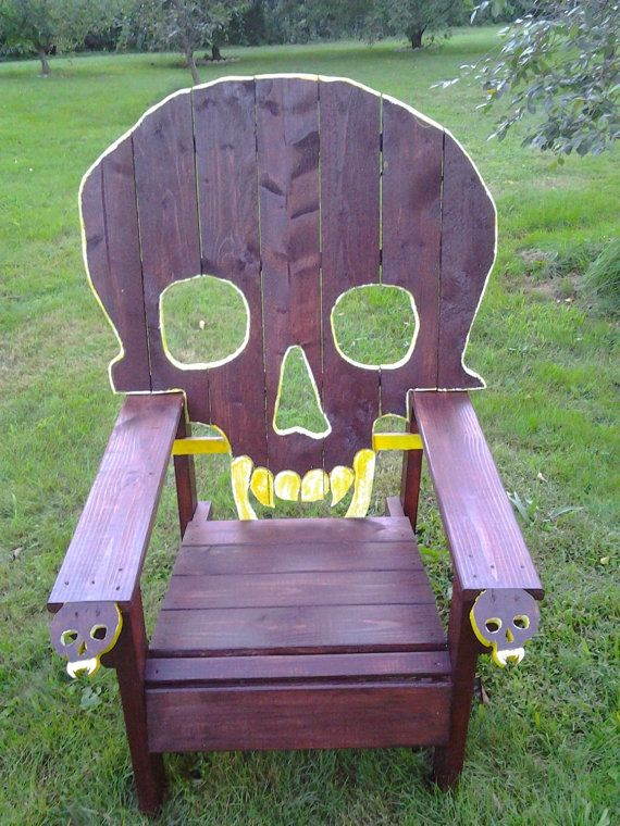 Beau SKULL CHAIR , PATTERN , Plans Only       Adirondack Chair, Yard Furniture,  Cedar , Skeleton Themed Huge....king Sized Chair $25