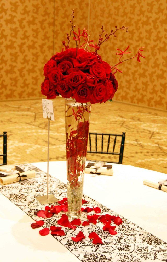 Red Rose Tall Trumpet Vase Centerpiece Event Planning Rose Centerpieces Red Rose Wedding