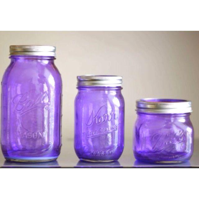 Purple Mason Jars  Perfect! | I love purple | Purple mason