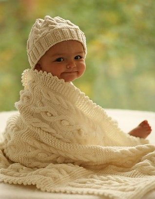 Free Knitting Pattern For Cable Baby Hat And Baby Blanket Baby