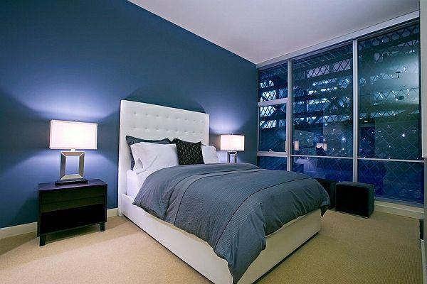 Neujahrsvorsätze Blaue Wände Und Kopfteil Mit Weißem Leder