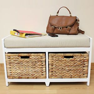 Hartleys Bench Cushion Seat U0026 Seagrass Wicker Storage Baskets  Bathroom/Hallway